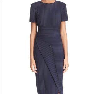 DKNY PINSTRIPE ASYMMETRICAL NAVY DRESS SIZE 0